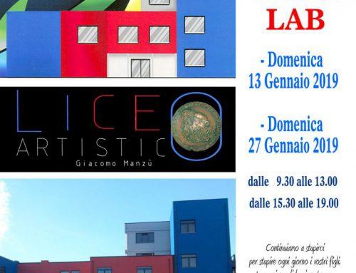 Open Day al Liceo Artistico G.Manzù il 13 gennaio e Open Lab il 27 gennaio 2019